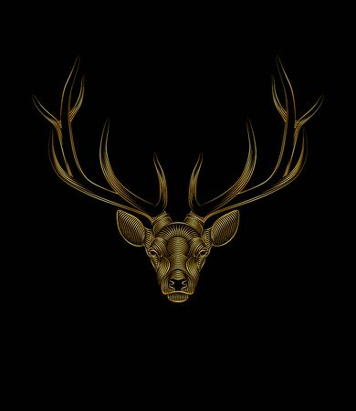 Graphic print of stylized gold deer on black background. Linear drawing. Portrait of a deer