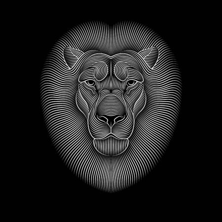 Engraving of stylized lion on black background. Linear drawing. Portrait of a lion