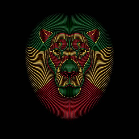 Engraving of stylized rasta lion on black background. Linear drawing. Portrait of a lion Illustration