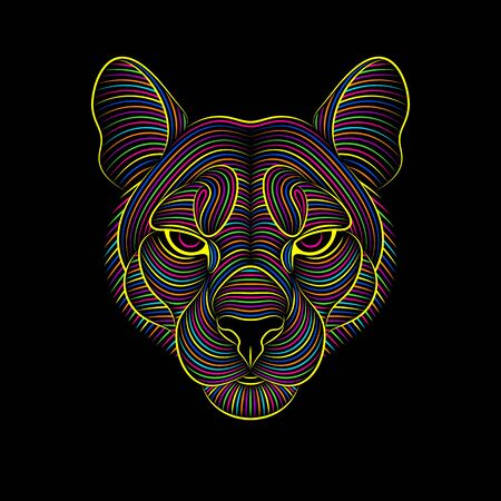 Engraving of stylized psychedelic puma on black background. Linear drawing. Portrait of a puma. Psychedelic. Illustration