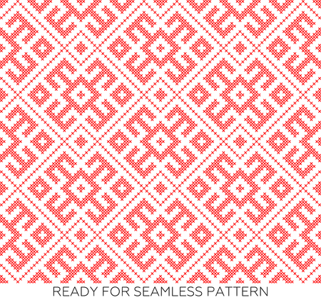traditional Russian and slavic ornament embroidered cross-stitch.DISABLING LAYER, you can obtain seamless pattern