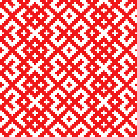 Seamless traditional Russian and slavic ornament made by squares.