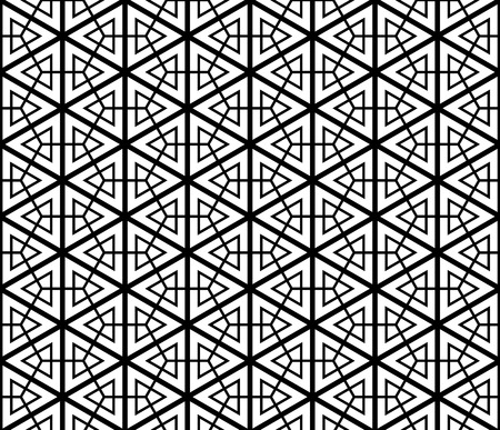 Japanese seamless pattern Kumiko black and white silhouette .The main axes are of large thickness.Figure of average thickness.