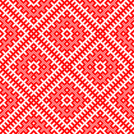 Traditional ethnic Russian and slavic ornament.CONTAINS SEAMLESS PATTERN.DISABLING LAYER, you can obtain seamless pattern.Schematic view in the form of squares.