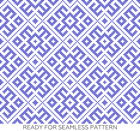 Seamless traditional Russian ornament.DISABLING LAYER, you can obtain seamless pattern.The pattern with blue circles.