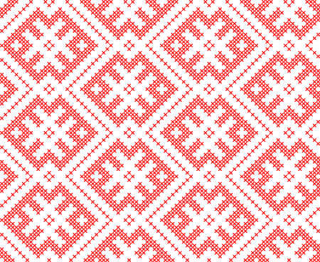 Traditional Russian and slavic ornament embroidered cross-stitch.Red and white.  イラスト・ベクター素材