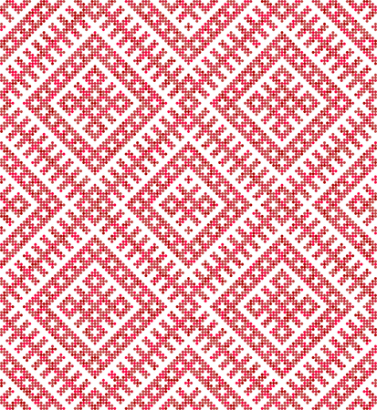 Russian ethnic ornament.DISABLING LAYER, you can obtain seamless pattern.The pattern is filled four-color palette of raspberry in random order 向量圖像