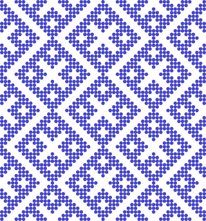 Traditional ethnic Russian pattern.DISABLING LAYER, you can obtain seamless pattern.The pattern is filled with blue circles. 向量圖像