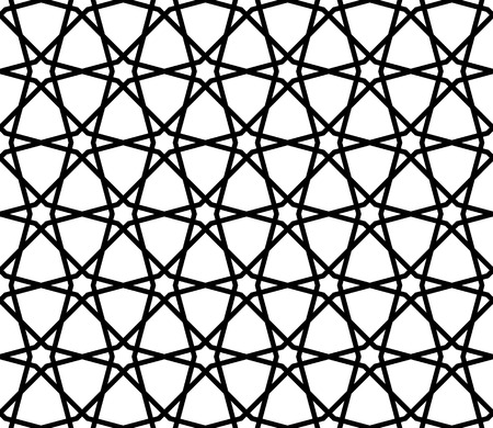 Seamless pattern on the basis of Islam patterns in black and white in average thickness lines. 向量圖像
