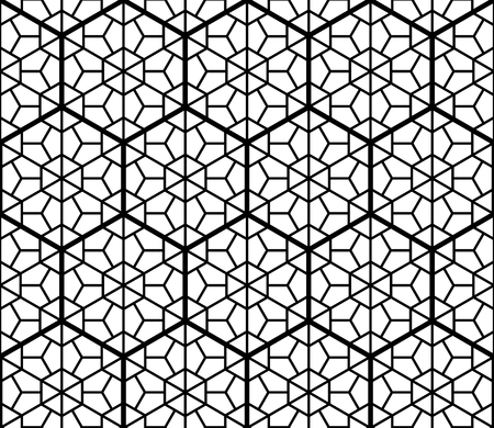 Japanese Kumiko seamless pattern black and white fine lines inscribed in hexagons of medium thickness Ilustração