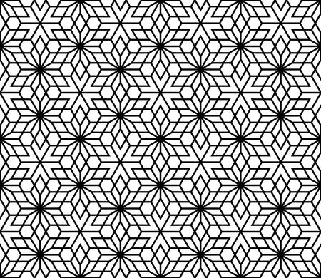 Seamless geometric pattern based on Kumiko ornament without lattice.Black lines and white background.  イラスト・ベクター素材