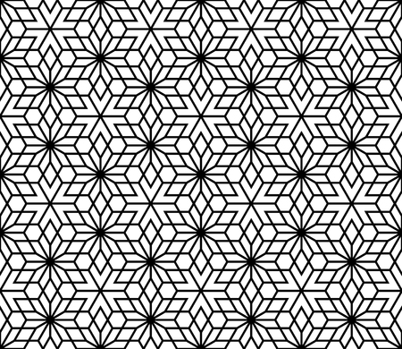 Seamless geometric pattern based on Kumiko ornament without lattice.Black lines and white background. Vectores
