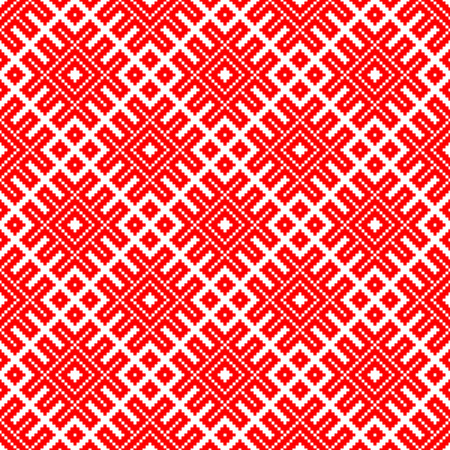 Seamless traditional Russian and slavic ornament made by squares .