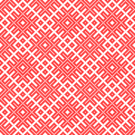 Traditional ethnic Russian and slavic ornament.DISABLING LAYER, you can obtain seamless pattern.The pattern is filled with red circles. Ilustração