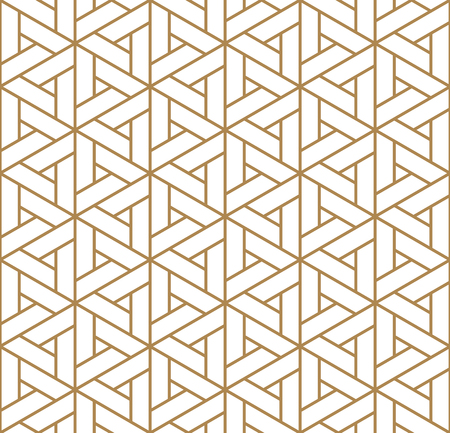 Japanese seamless pattern Kumiko golden color silhouette lines with an average thickness with rounded corners