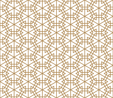 Japanese seamless pattern Kumiko golden color silhouette lines with an average thickness Illustration