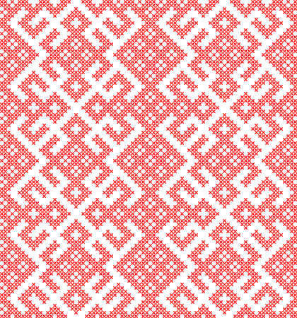 Seamless traditional Russian and slavic ornament embroidered cross-stitch. Vecteurs