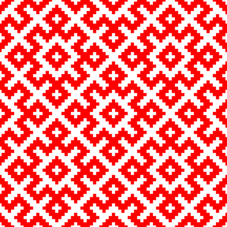 Seamless pattern based on traditional Russian and slavic ornament made by squares .