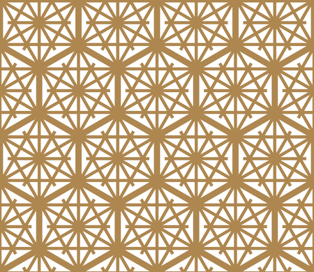 Seamless pattern based on Japanese ornament Kumiko.Golden color.  イラスト・ベクター素材