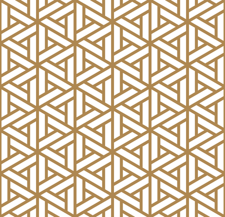 Seamless pattern based on Japanese ornament Kumiko.Golden color. Stock Illustratie