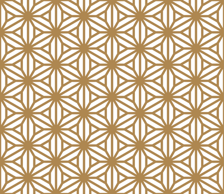 Seamless pattern based on Japanese ornament Kumiko.Golden color.Hexagon grid.Thick lines.