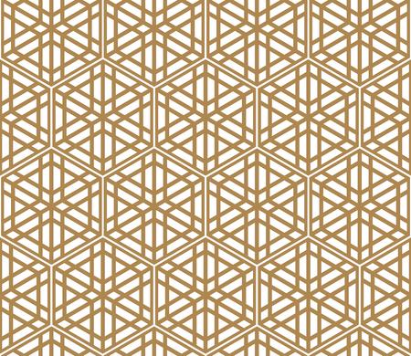 Naadloos patroon gebaseerd op Japans ornament Kumiko.Gouden kleur.Hexagon raster. Vector Illustratie