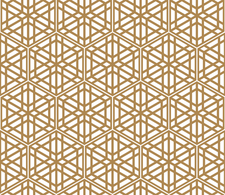 Seamless pattern based on Japanese ornament Kumiko.Golden color.Hexagon grid.