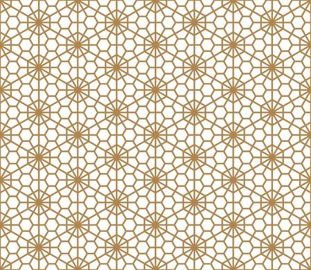 Modèle sans couture basé sur l'ornement japonais Kumiko.Couleur dorée.