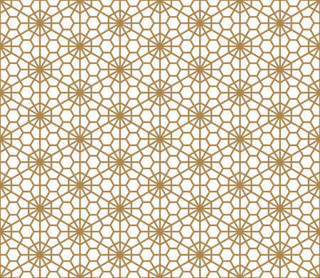 Seamless pattern based on Japanese ornament Kumiko.Golden color. Illustration