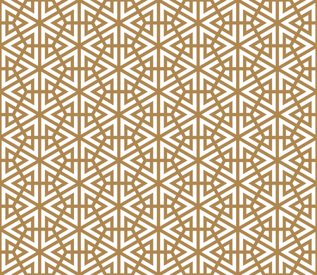 Seamless pattern based on Japanese ornament Kumiko.Golden color.Thick lines.