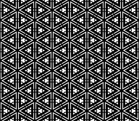 Seamless geometric pattern based on Japanese ornament Kumiko.Black and white.Thick and thin lines.