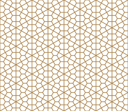 Seamless geometric pattern based on Japanese ornament Kumiko.Golden color.Thin lines.