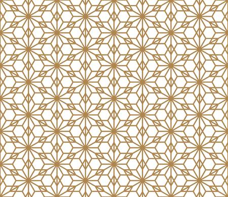 Seamless geometric pattern based on Japanese ornament Kumiko.Golden color.  イラスト・ベクター素材