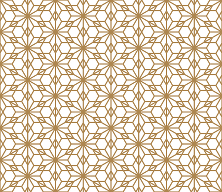 Seamless geometric pattern based on Japanese ornament Kumiko.Golden color.  イラスト・ベクター素材