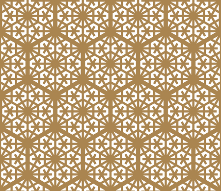 Seamless pattern based on Japanese ornament Kumiko.Hexagon grid.Golden color.