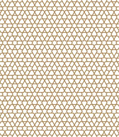 Seamless pattern in golden average lines.Based on arabic geometric patterns.