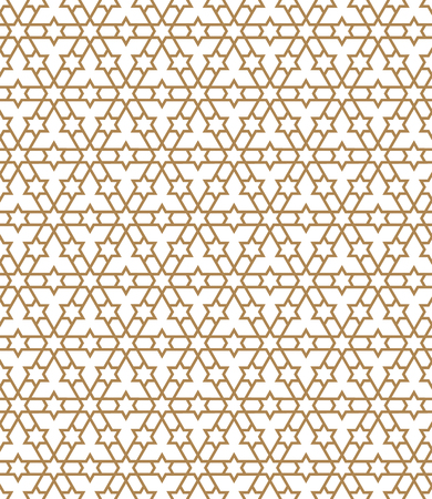 Seamless pattern in golden average lines.Based on arabic geometric patterns.