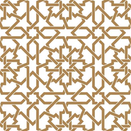 Seamless arabic geometric ornament based on traditional arabic art. Muslim mosaic. Turkish, Arabian tile on a white background made by netting  イラスト・ベクター素材