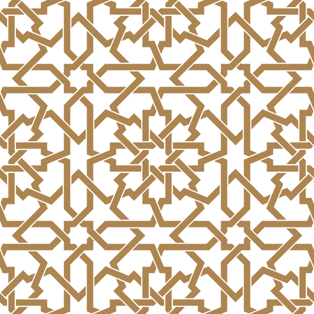 Seamless arabic geometric ornament based on traditional arabic art. Muslim mosaic. Turkish, Arabian tile on a white background made by netting