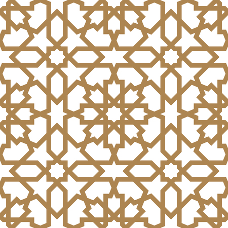 Seamless arabic geometric ornament based on traditional arabic art. Muslim mosaic. Turkish, Arabian tile on a white background made by netting Vettoriali