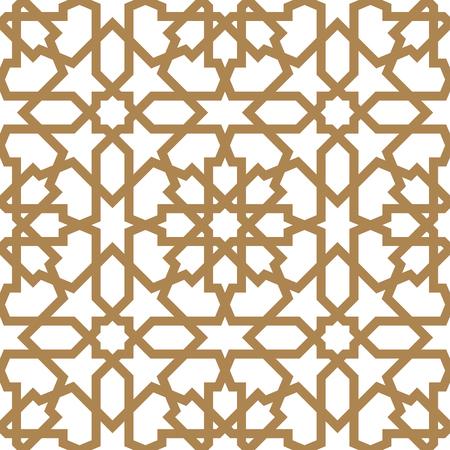Ornamento geometrico arabo senza cuciture basato sull'arte araba tradizionale. Mosaico musulmano. Piastrella turca, araba su sfondo bianco realizzata mediante rete Vettoriali