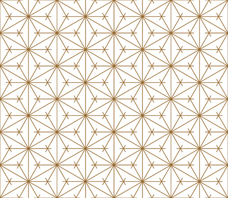 Japanese seamless Kumiko pattern.Silhouette with fine golden lines.
