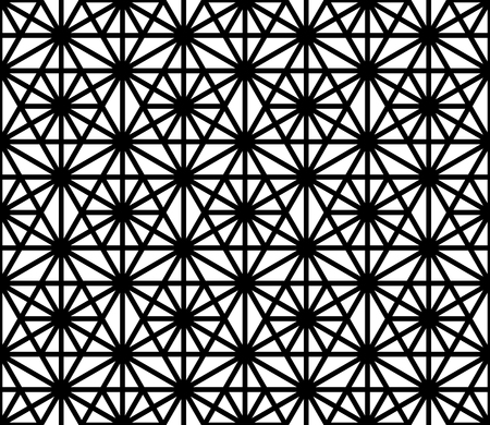 Seamless pattern based on ornament Kumiko.Silhouette with black thick lines.