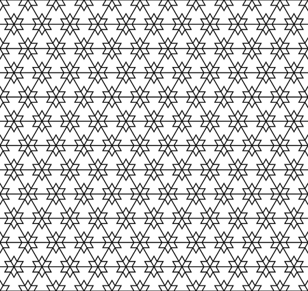 Seamless geometric pattern in black and white in thin lines. Vecteurs