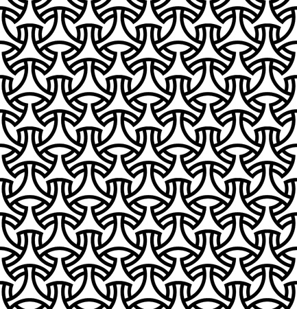 Seamless pattern in black lines.Based on arabic geometric patterns.