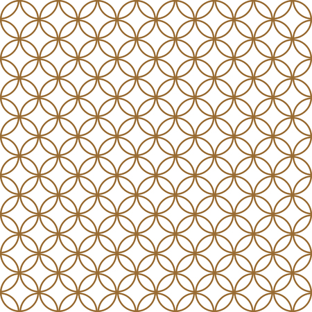 Seamless pattern based on Kumiko ornament .Golden silhouette circular lines.Suitable for laser cutting and design.