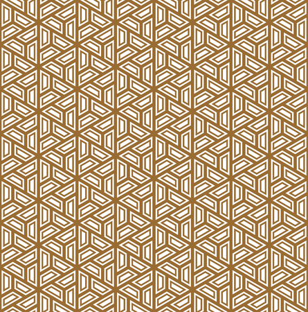 Seamless pattern based on Japanese ornament Kumiko.Golden color.Repeating contour lines. Ilustrace