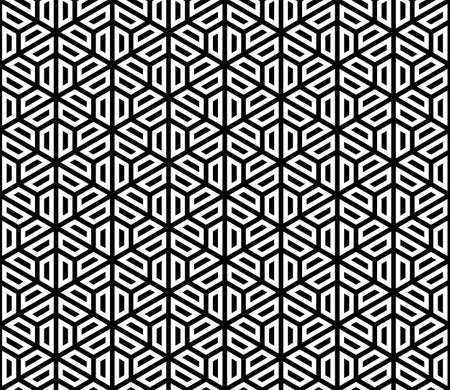 Seamless pattern based on Japanese ornament Kumiko.Black on white background .Repeating contour lines. Vectores