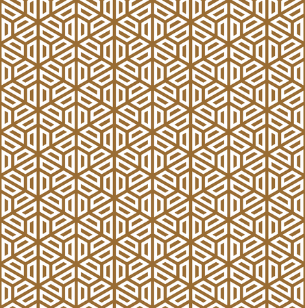 Seamless pattern based on Japanese ornament Kumiko.Golden color. Ilustrace