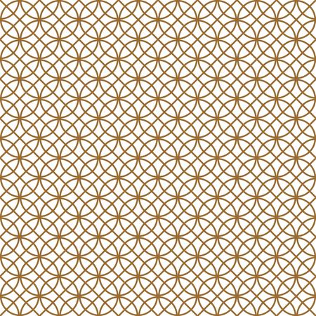 Seamless pattern based on Kumiko ornament .Black and white silhouette circular lines and diagonal grid.Suitable for laser cutting and design.Golden color.